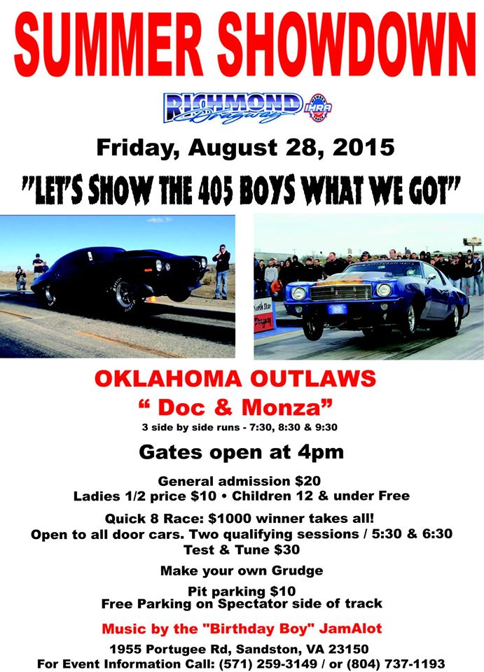 THIS WEEK:   Friday Oklahoma Street Outlaws Doc & Monza PLUS open TNT for ALL CARS and Quick 8!  Sat and Sun Closed thumbnail
