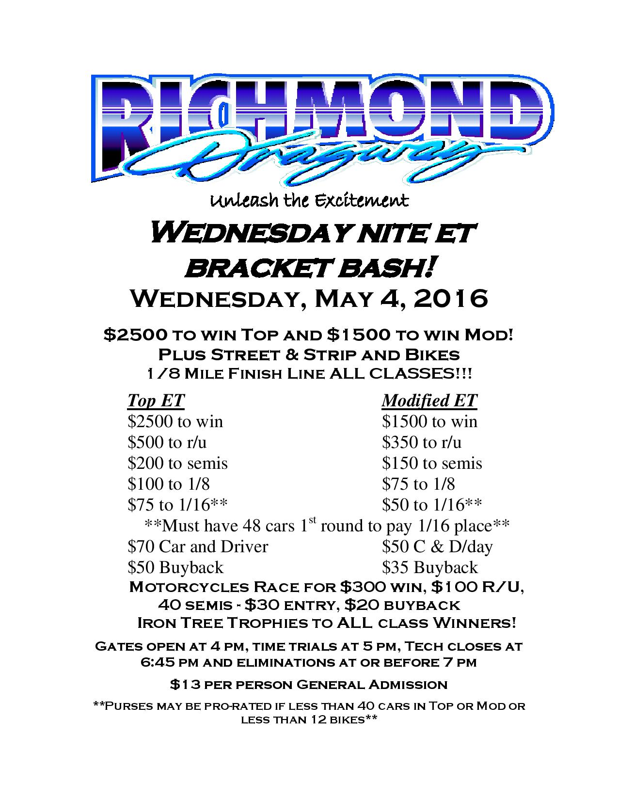 THIS WEEK: Event POSTPONED to 5/11 – Wednesday Nite ET Bracket Bash – NO RACING this Weekend thumbnail