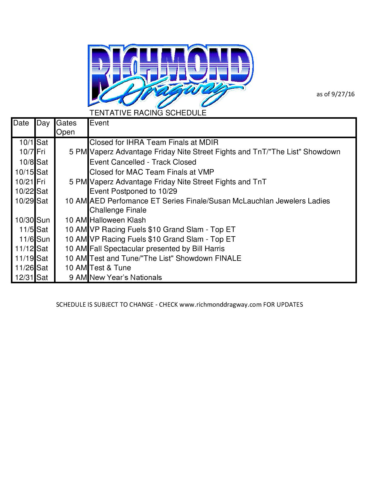 schedule updates | richmond dragway